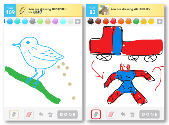 Draw Something, iPhone app, iPhone game, iPhone art, bird poop, autobots, transformers