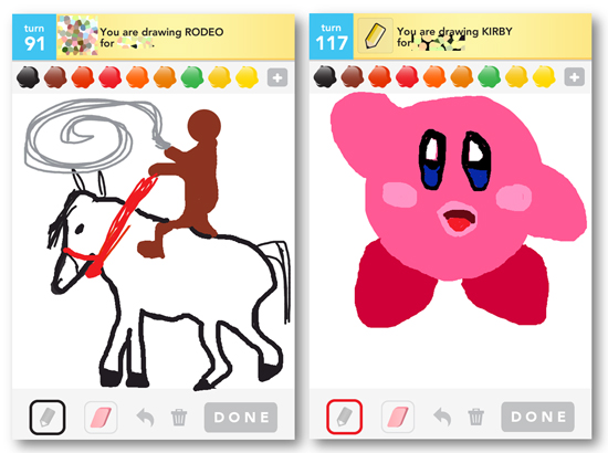 Draw Something, iPhone app, iPhone game, iPhone art, rodeo, kirby, kirby drawing horse, cowboy art, kirby draw, rodeo drawing